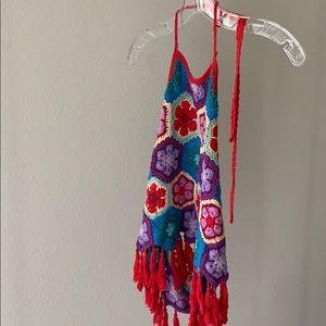 Show Me Your Mumu Dylan crochet halter fringe red